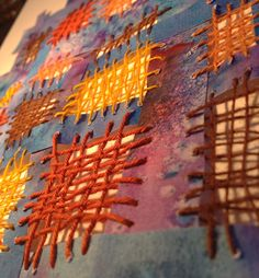 Woven thread and paper embroidery ~ see this with evenweave canvas . Paper Embroidery, Learn Embroidery, Embroidery Stitches, Embroidery Ideas, Stitching On Paper, Paper Weaving, Thread Art, Weaving Projects, Fabric Manipulation