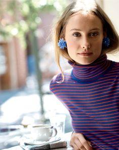 J.Crew women's Tippi turtleneck sweater in stripe and blossom earrings in frosty sky.