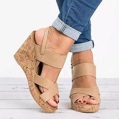 4341306c1ee8 Large Size Adjustable Buckle Cross Wedge Sandals · Flip Flop ShoesPeep Toe  ...