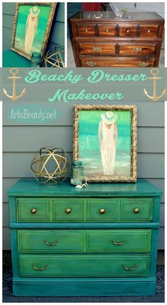 ART IS BEAUTY: Tide Pool Green Beachy Dresser Makeover