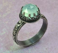 Blue Aqua Chalcedony Ring in Sterling Silver Faceted by ClosParra, $49.00 #jewelry #ring