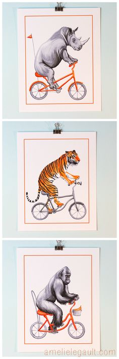 Carson's room | Cycling animals prints, animals riding bicycle prints, Rhino, Tiger and Gorilla, by Amelie Legault on Etsy  $12.00 each 3 for $30.00 Click here to buy now! https://www.etsy.com/ca/listing/209731132/tiger-on-bicycle-cycling-tiger-kids-wall?ref=shop_home_active_14 #tiger #gorilla #rhino #cyclinganimal