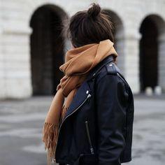 camel scarves for women cashmere oversized designer scarf ladies. Get 10%off Now! Biker Jacket Outfit, Black Biker Jacket, Moto Jacket, Leather Jacket Dress, Leather Skirt, Black On Black, Black Camel, Long Black, Winter Scarf Outfit