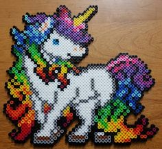 Rainbow Unicorn perler beads by LadyRaveicorn More