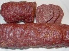my grandma's recipe.an easy recipe to use up extra ground beef or venison. Homemade Summer Sausage, Summer Sausage Recipes, Homemade Sausage Recipes, Homemade Recipe, Venison Summer Sausage Recipe, Beef Pepperoni, Pepperoni Recipes, Jerky Recipes, Venison Recipes