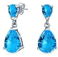 Bling Jewelry Simulated Aquamarine Cz Double Tear Drop Sterling Silver Drop Earrings.