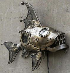 Passionate welding metal art projects dig this Chat Steampunk, Steampunk Kunst, Style Steampunk, Steampunk Clothing, Steampunk Gadgets, Metal Sculpture Artists, Steel Sculpture, Metal Sculptures, Fish Sculpture