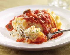 Chunky Pomodoro Lasagna | Chunky Pomodoro Lasagna Recipe - A hearty meatless sauce plump with chunky colorful vegetables. #Schwans #EasyRecipes #Inspiration