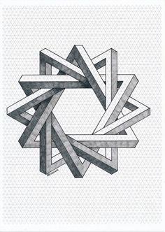 Impossible on Behance Art Isométrique, Op Art, Illusion Drawings, Illusion Art, Geometry Art, Sacred Geometry, Impossible Shapes, Impossible Triangle, Graph Paper Art