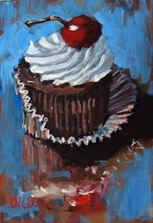 """Rick Nilson's PaintingsStill life with cupcake and cherry Oil on panel 5""""X7"""" This painting is sold."""