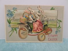 Antique 1900's Easter Postcard Easter Bunny Rabbits Embossed Divided Unposted | eBay