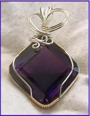 Amethyst jewelry wire wrapped pendant