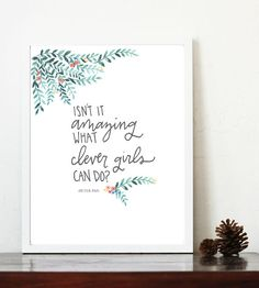 Isn't It Amazing What Clever Girl Can Do? print, Peter Pan quote, 8x10 printable, girl nursery art, mint coral, hand letter, watercolor