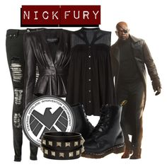 """Nick Fury"" by mcu-marvel-creations ❤ liked on Polyvore featuring Boohoo, Balmain, VILA, Dr. Martens, Valentino, marvel, film and nickfury"