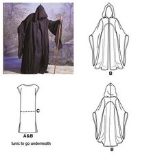 The Funky Seamstress: Jedi's Robe - Halloween 2011 - Simplicity 9887 Halloween Costumes Scarecrow, Halloween Sewing, Halloween Costume Contest, Halloween Costumes For Girls, Diy Costumes, Jedi Robe Pattern, Cloak Pattern, Reaper Costume, Harry Potter Halloween Party
