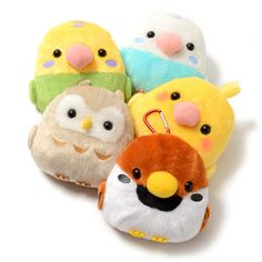 """Order the full set and receive a randomly selected mini plushie as a free bonus!*Please note that the series and version of the free bonus mini plushies will be selected at random. Determined to help out, the round birdies of the Kotori Tai series have taken the forms of these lovely reel pouches! 5.1"""" in diameter and 1.2"""" deep, they are big enough to store some money and even an ID or pass in the... #tokyootakumode #plushie"""