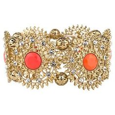 "Add a pop of style to evening ensembles and work outfits alike with this striking stretch bracelet, showcasing a shimmering filigree design highlighted by orange stones.  Product: Bracelet Construction Material: Gold-plated zinc alloyColor: Orange and goldFeatures:  HandmadeStretches up to 3.5""Lead and nickel free  Dimensions: 2.5"" Diameter x 1.25"" HCleaning and Care: Avoid all oils and chemicals such as lotions, hairspray, makeup and perfumes. To clean, wipe with a soft, clean, dry cloth."