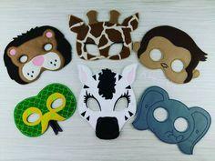 Zoo Mask - Animal Mask - Lion Mask - Giraffe Mask - Snake Mask - Monkey Mask - Zebra Mask - Elephant Mask - Jungle Animal Mask - Felt Mask by AHeartlyCraft on Etsy