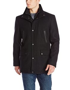 SALE PRICE - $83.3 - Kenneth Cole New York Men's Wool-Blend Coat with Front-Zip Bib
