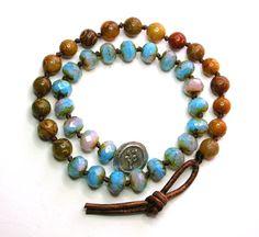 Boho chic wrap bracelet beaded leather bracelet by 3DivasStudio, $72.00
