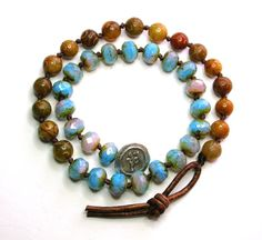 Boho chic wrap bracelet beaded leather bracelet by 3DivasStudio, $72.00
