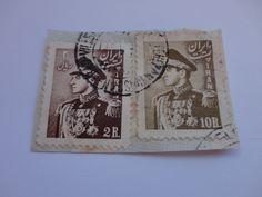 2R, 10R Old Iran Postage Stamp.