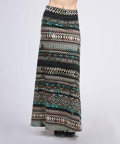 Brown & Teal Maxi Skirt #zulily #zulilyfinds