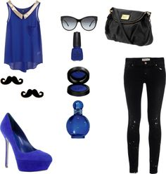 """""""Black and blue..."""" by nedawinx ❤ liked on Polyvore"""