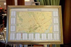 Vintage map of Washington DC for escort sign | A modern, teal Washington DC wedding at the Westin in Georgetown | Images: Ken Pak Photography