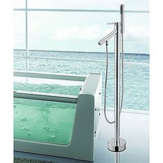 Solid Brass Contemporary Floor Standing Tub Shower Faucet with Hand Shower - Chrome Finish. Get sizzling discounts up to at Light in the box using Coupon and Promo Codes. Bath Shower Mixer Taps, Bath Taps, Bathroom Taps, Tub And Shower Faucets, Kitchen Taps, Bathtub Faucets, Kitchen Cabinets, Cheap Bathtubs, System Kitchen