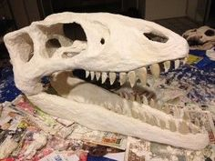 How to Make a Big Paper-Mache Dinosaur Skull for Very Little Money - FREE Instructions