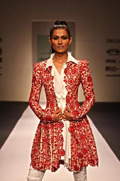 More X shape and embellishment. By Asian designer Anamika. Indian Suits, Indian Dresses, Indian Wear, Indian Clothes, Elegant Outfit, Elegant Dresses, Anamika Khanna, Indian Couture, Cool Jackets
