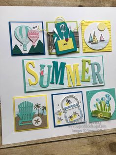 Summer Sampler Stampin' Up - tips on creating a sampler Box Frame Art, Shadow Box Frames, Scrapbooking Layouts, Scrapbook Pages, Dyi, Collage Frames, Collages, Collage Ideas, Bridal Shower Scrapbook