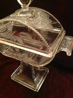 Early American Pressed glass Footed Bowl Candy Dish W Lid Art Nouveau Etched