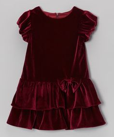 Look what I found on #zulily! Burgundy Tiered Velvet Dress - Infant & Toddler #zulilyfinds