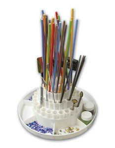Glass Rod Holder - Keep glass rods organized and easy to find. Four tier rotating rod holder has 72 openings plus 7 larger compartments along the base Mosaic Glass, Fused Glass, Glass Art, Glass Beads, Delphi Glass, Making Stained Glass, Studio Organization, Making Machine, Book Making