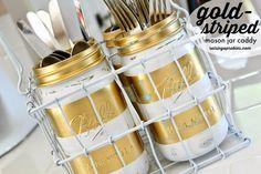 Raising up Rubies: gold striped mason jar caddy ♥