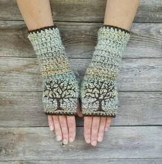 Tree Arm Warmers Tree Fingerless Gloves Tree of Life