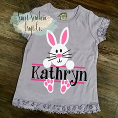 3844c68f2 Girls Bunny Easter Toddler/Youth Shirt. Easter, Clothing, Jesus,Christian  Apparel,Easter Bunny, Ruff