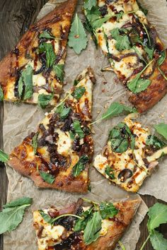Caramelized onion kale goat cheese pizza with balsamic drizzle