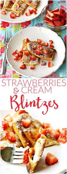 These Strawberries & Cream Cheese Blintzes are crepes stuffed with a strawberry cream cheese filling, pan fried and dusted with powdered sugar. They're perfect for brunch or dessert!