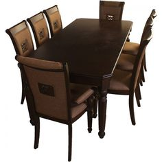 hometown Calisto Solid Wood Dining Set Stylishly designed ,this dining set includes 1 table and 8 chairs .This dininig set is high on strength and endurance and an ideal joint for six to dine. A great addition to your dining room to add an extra appeal. 8 Seater Dining Table, Glass Dining Table Set, Dining Set With Bench, Solid Wood Dining Set, Wooden Dining Tables, Dining Room Sets, Cheap Furniture Online, Top Furniture Stores, Dining Furniture