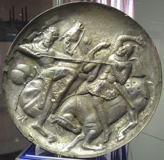Silver Gilt Plate with Sassanid King defeating a Catafract, Azerbaijan Museum…