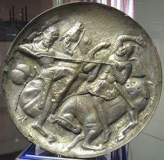 Silver Gilt Plate with Sassanid King defeating a Catafract, Azerbaijan Museum…