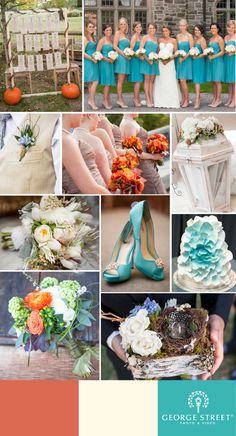 Cream, brown, orange and aqua! A perfect #fall color wedding palette!