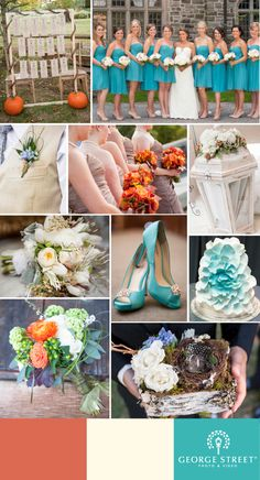 PERFECT! @Brenda Franklin Romine I think this is it!! Cream, brown, orange(maybe more a peach color?) and aqua! A perfect #fall color wedding palette!