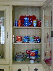 =)  Polka dot dishes in my favorite colors