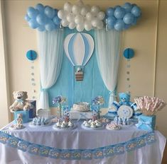 Baby Shower Ideas for Boys DIY Decorations - Picking a theme and baby shower decorations for boys are pivotal pieces of the hierarchical procedure. Cute Baby Shower Ideas, Baby Shower Decorations For Boys, Boy Baby Shower Themes, Baby Shower Centerpieces, Baby Boy Shower, Baby Showers, Baby Boy Birthday Decoration, Hot Air Balloon Centerpieces, Party Centerpieces