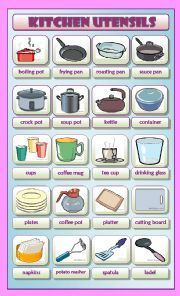 english worksheet in the kitchen utensils and appliances pictionary b w version included. Black Bedroom Furniture Sets. Home Design Ideas
