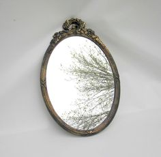 Vintage Wall Mirror - Ornate Oval Mirror by Syroco - Metallic Finish $38